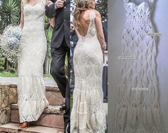 Crochet wedding dress etsy for Crochet wedding dresses for sale