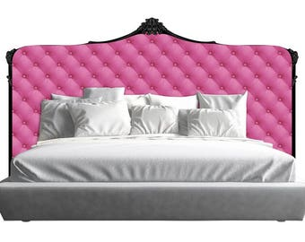 Pink Capiton Tufted Upholstered Style Acrylic Headboard