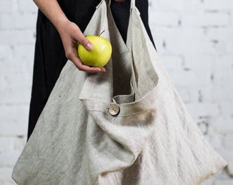 Linen shopping bag, Linen beach bag, Natural linen, Vegan bag, Big tote bag, Summer bag, Linen tote bag/LT0002