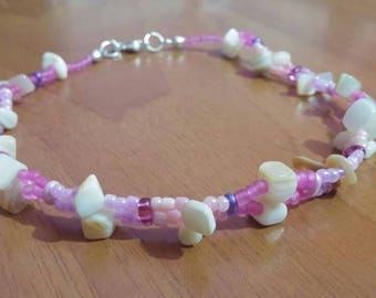 Beaded Anklet in Pink hues with Seashells