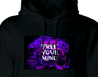 Free Your Mind Spiritual Woke Psychedelic Hippy Hoody Cool Mens Black Hoodie Art Design Stoner 420 Colour Abstract Purple Womens Free Mind