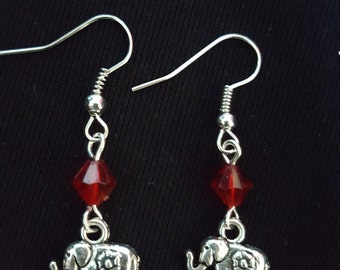 Dainty elephants and red bicone earrings