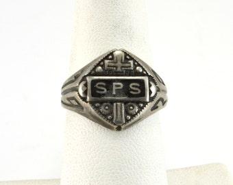 Cross Ring, SPS Ring, Sterling Ring, Vintage Ring, Size 7