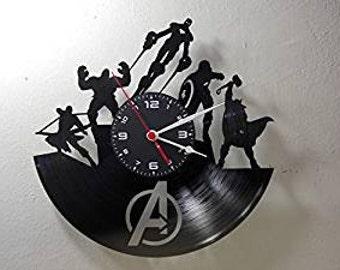 Vinyl disc clock on THE AVENGERS (handmade)