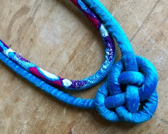 Handmade Fabric Statement Necklace (Josephine Knot)