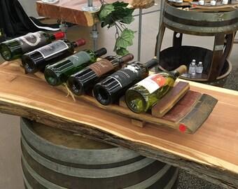 wine bottle display, 6 bottles on wine staves
