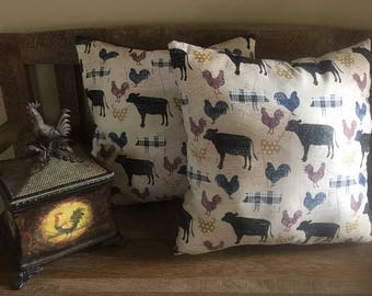 Farm Animal Print Set of 2 Decorative Pillows-Farmhouse-Roosters-Cows-Rustic Chic-Primitive-17 x 17