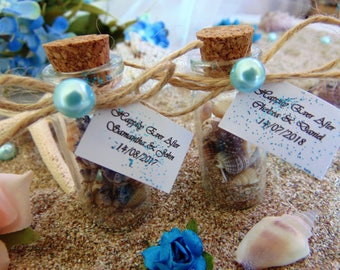Wedding favors,Beach in a bottle, Personalized party favors, Wedding favors for guests,Wedding thank you gift for guests,Message in a bottle