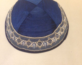 Saten kippah with embroidery of Magen David