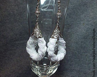 Boho earrings in white / silver / wedding / bridal / tribal earrings / crystal glass