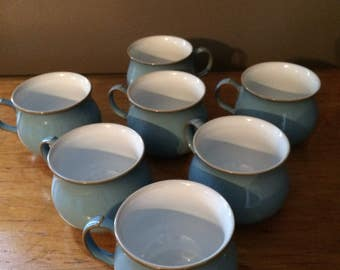 7 Blue Denby Handcrafted Stoneware Tea or Coffee Cups made in England