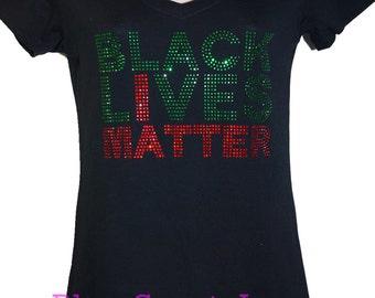 Black Lives Matter Rhinestone Bling T-shirt V-neck