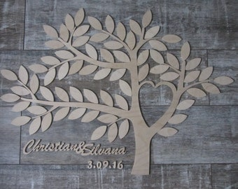 Wedding tree - guestbook personalized wedding wedding tree wood type 1