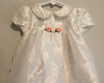 Vintage 1980s JoLene Fancy White Shimmery Dress 12 Months