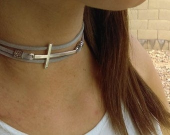 Womens Silver Choker Necklace, Gift for Her Choker, Jewelry Necklace Choker Gift Women, Cross Choker, Wrap Around Choker, Layered Wrap