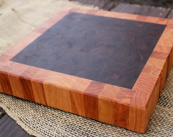 Handmade Butcher Block Cutting Board/Chopping Block - Walnut End Grain with Cherry Border  (custom wood)