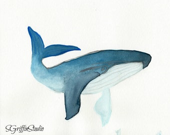 Giclee Print, Blue Whale, Watercolor Painting, 8x10