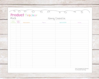 Product Tracker, Editable, Small Business Planner, Batch Numbers, Batch Tracking, Handmade Creations