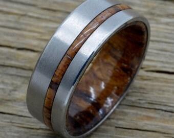 Titanium Ring With Hawaiian Koa Wood Inlay 8mm Comfort Fit Band