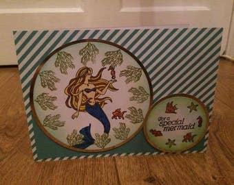 Handmade mermaid stamped card