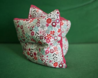Hot/cold neck pillow heating organic flax seeds, small flowers and corduroy - new COLLECTION fabrics