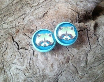 "Earrings, round, cabochon, studs and turquoise base, ""raccoon"" chips ""racoon"" hologram blue"