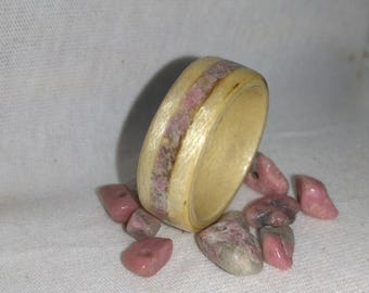 Maple and Pink Rhodonite bent wood ring