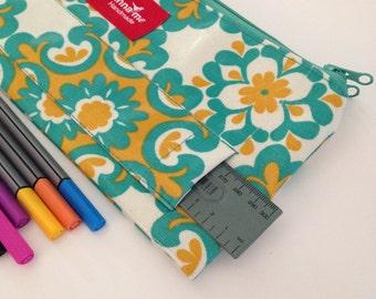 Caja de lápiz verde y amarillo, doble caja de lápiz, escuela accesorios, caso papelería, papelería titular, lápiz, bolso escolar, Floral