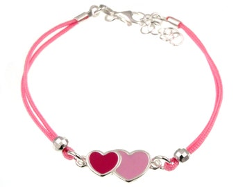 925 silver bracelet with double enameled heart and pink cotton gift idea