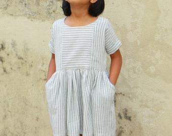 Girls summer dress, Cotton girls dress,kimono sleeves, pockets, handloom, eco-friendly, fairtrade, organic