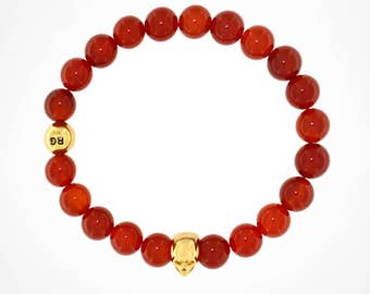 Red Agate beads with 925 18k gold plated