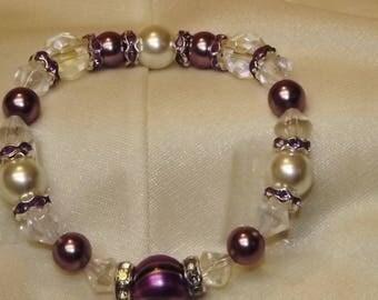 Lavender and Crystal Bracelet