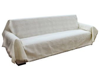 Sofa throw cover rectangle-ruffled-large couch coverlet- pet furniture protectors -lightweight white ivory Buldan fabric