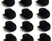 "2"" Black Mini Flocked Felt Top Hats - 12 PACK"