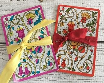 Floral ~Paisley ~ Swap Cards (10) Vintage Single Playing Cards ~Paper Ephemera ~
