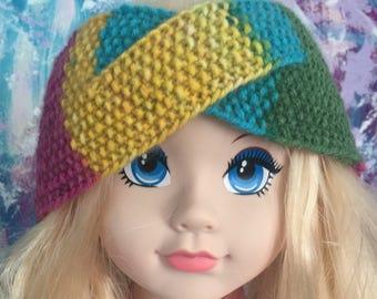Hand knitted headband Multicoloured