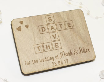 Scrabble Style Save The Date Magnets | Wood