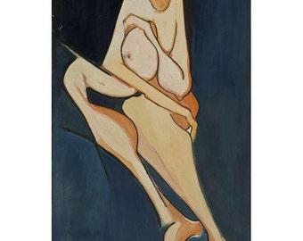 "Igal Vardi - ""Pregnant Woman"" Acrylic on Canvas"