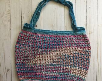 Rainbow Beach Tote, crochet tote bag, crochet market bag, crochet purse