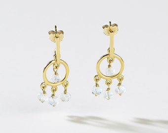 Playful Earrings 18K Gold & Rainbow Moonstone/ Fine Jewelry /18K Dangle Earrings with Rainbow Moonstone