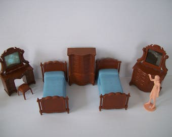 Reliable Dollhouse Bedroom Set Reliable Twin Beds Dresser Vanity Stool Doll Furniture