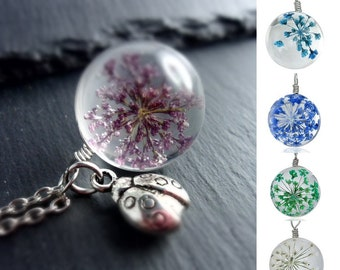 Chain - flower in glass, necklace, flower, dill blossom, Lady chain