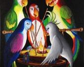 PRINT Enchanted Tikiroom Tiki Birds Macaws Parrots Cockatoo Scorpion Bowl Cocktail RARABIRD painting ART José Michael Fritz Pierre Rosita