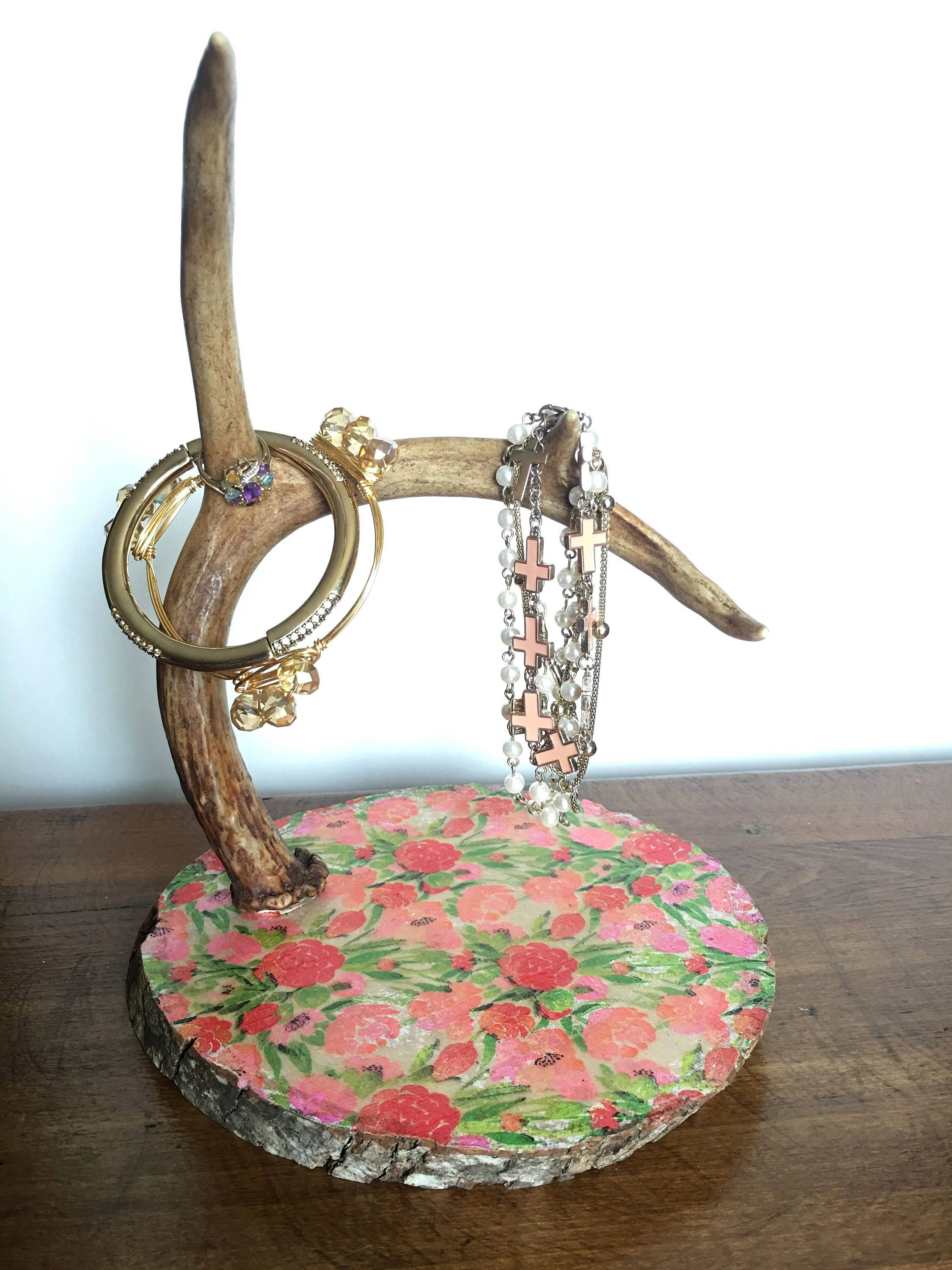 antler jewelry holder shabby chic w floral wood base