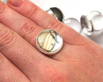Ring Cabochon Tray Setting with Glass Dome x 5 Sets