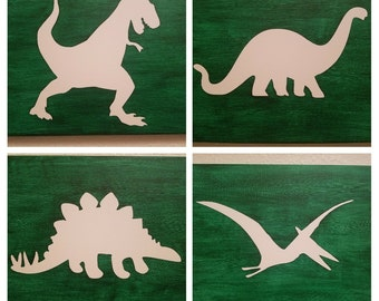 Dino Painted Canvas - Set of 4