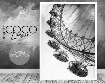 Black and white photo, Ferris Wheel Print, Retro Vintage Wall Art, Minimalist, Printable Large, Digital Download, Minimal Print, Modern art