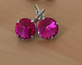 10mm Hot Pink Magenta Swarovski Crystal Earrings
