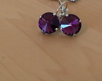 10mm Deep Amethyst Eggplant Swarovski Crystal Earrings