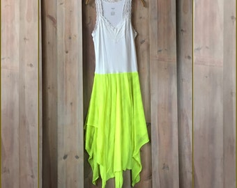 Fluorescent Yellow Lace Sundress, Flowy Sundress , Beach Cover-up,  Romantic Dresses,  Boho Dress, Upcycled Clothing, Romantic Dress